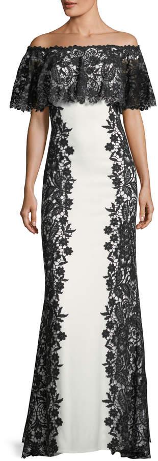 Tadashi Shoji Off-Shoulder Paneled Lace Gown