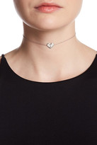 Argentovivo Sterling Silver 'T' Initial Heart Choker Necklace