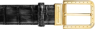 Pakerson Ripa Black Alligator Leather Belt w/ Gold Buckle