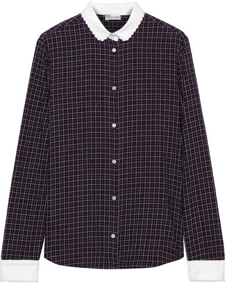 RED Valentino Pique-trimmed Checked Cotton-blend Shirt