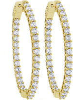 FINE JEWELRY 4 CT. T.W. White Diamond 10K Gold Hoop Earrings