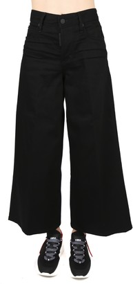 DSQUARED2 Black Cotton Denim Jeans With Flared Hem