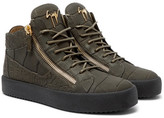 Giuseppe Zanotti Logoball Croc-effect Leather High-top Sneakers - Green