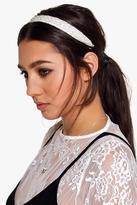 Boohoo Libby Pearl Detail Ribbon Tie Headband