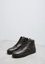 Ann Demeulemeester Vitello Olio Black High Top Sneaker