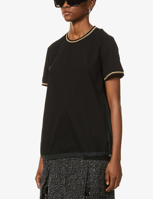 Moncler Stripe-trim cotton-jersey and shell T-shirt