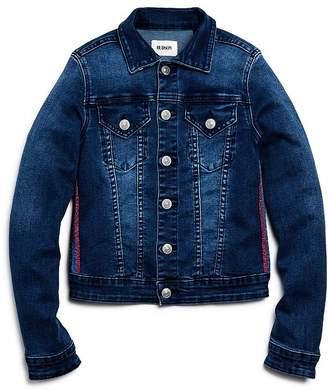 Hudson Girls' Amber Glitter-Stripe Denim Jacket, Little Kid - 100% Exclusive
