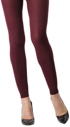 Me Moi Memoi MeMoi Women's Tights Burgundy - Burgundy Ribbed Footless Sweater Tights - Women
