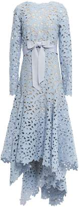 Oscar de la Renta Asymmetric Bow-embellished Guipure Lace Gown