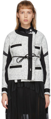 Sacai White Wool Summer Tweed Belted Jacket