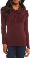 Chelsea & Theodore Fringe Cowl Neck Sweater