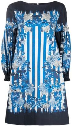 Alberta Ferretti Floral-Print Long-Sleeved Mini Dress
