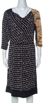Dries Van Noten Multicolor Abstract Print Silk Sequinned & Beaded Detail Midi Dress M