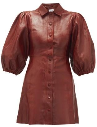 Ganni Balloon-sleeve Leather Mini Shirt Dress - Womens - Burgundy
