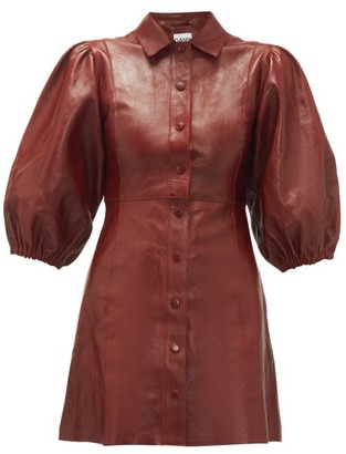 Ganni Balloon-sleeve Leather Mini Shirtdress - Womens - Burgundy