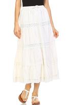 Ecru Boho Cutout Maxi Skirt - Plus