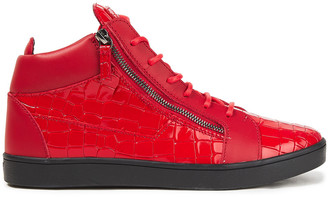 Giuseppe Zanotti Zip-detailed Smooth And Croc-effect Leather High-top Sneakers