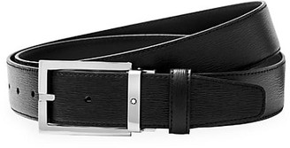 Montblanc Westside Rectangular Shiny Stainless Steel Pin Buckle Leather Belt