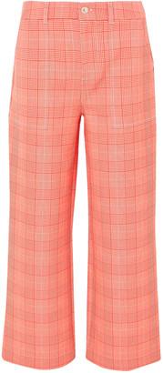Ganni Checked Cady Wide-leg Pants