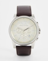 Armani Exchange Outerbanks Chronograph Watch With Leather Strap Ax2506