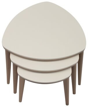 George Oliver 3 Pcs Nesting Table, Walnut, Cream in , White