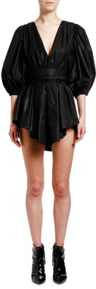 MSGM Plunging Puff-Sleeve Belted Mini Dress