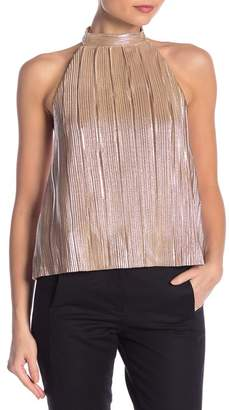 J.o.a. Champagne Metallic Pleated Backless Blouse