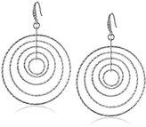 ABS by Allen Schwartz Silver Tone Multi-Ring Hoop Earrings