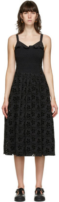 Marina Moscone Black Smocked Mid-Length Dress