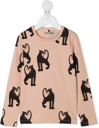 Mini Rodini panther print long-sleeve T-shirt