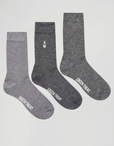 Green Treat 3 Pack Bamboo Ankle Socks In Twisted Yarn