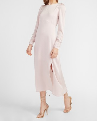 Express Ruched Sleeve Midi Dress