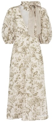 Zimmermann Neck-tie toile de jouy linen midi dress