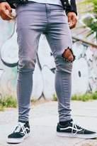 Boohoo Spray On Skinny Jeans with Diamond Knee Rip