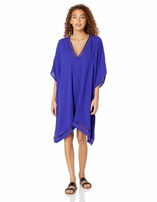 Jets Women's Crochet Trim Kaftan Swimsuit Cover Up