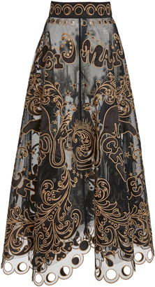 Zimmermann Ladybeetle Fortune Appliqued Tulle Maxi Skirt