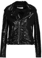 IRO Heleny Sequined Crepe Biker Jacket