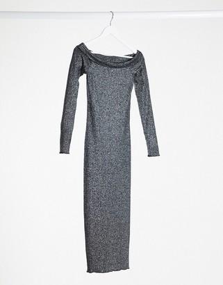 Only etta bardot knitted midi dress in black