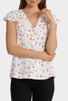 Basque Braid Insert Button Thru Blouse Print
