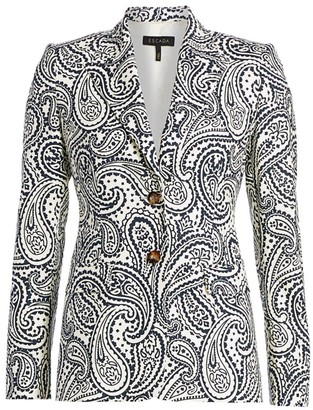 Escada Bick Paisley Stretch Cotton Blazer