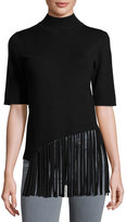 philosophy Half-Sleeve Sweater with Fringe Front, Black