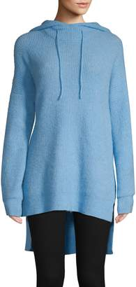Ganni High-Low Wool-Blend Hoodie