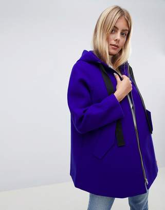 Asos Design DESIGN hooded swing coat-Blue