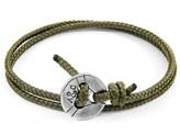 Anchor & Crew Khaki Green Lerwick Silver & Rope Bracelet