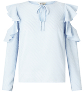 Miss Selfridge Petite Cold Shoulder Blouse, Blue