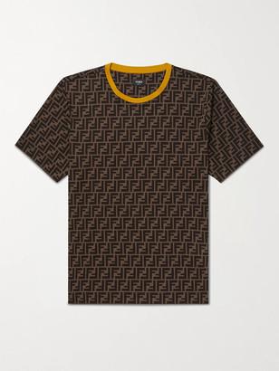 Fendi Contrast-Tipped Logo-Print Cotton-Jersey T-Shirt
