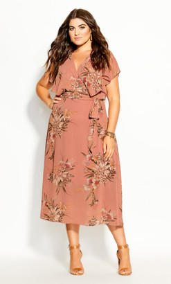 City Chic Sweet Floral Dress - guava