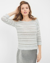 White House Black Market Eyelash-Trim Sweater