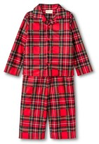Komar Kids Toddler Boys' St. Eve Peas & Carrots Plaid Button Up Long Sleeve 2-Piece Pajama Set Red