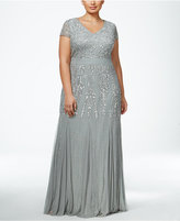 Adrianna Papell Plus Size Beaded V-Neck Gown